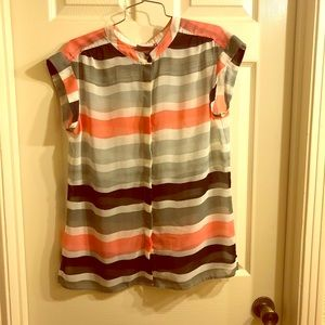 Sheer Striped Button-up Blouse